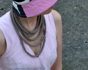Knittted smoke brown necklace Multistrand I-cord necklace Cotton-merino wool yarn Pink plastic button Removable pink glass beads