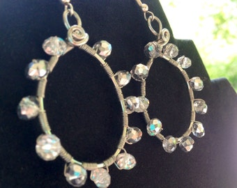 SALE! Wire Wrapped Rondelle Crystal Ice Hoops