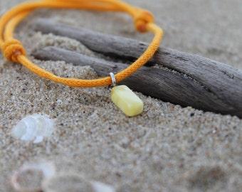 Orange Friendship Bracelet Charm Adjustable Cord Bracelet Boy Girl Jewelry Natural Gift for friend