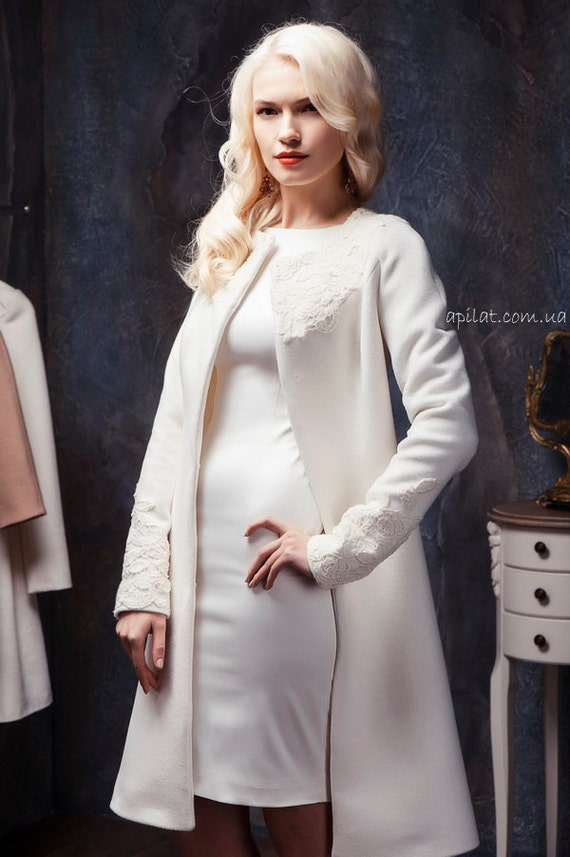 Woman White Wool Winter Coat Wedding white collarless wool