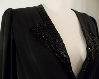 Low-Cut Beaded Collar Black Dress -- Classic Sexy Longsleeve -- Medium / Large Lori Ann Collection