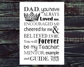 Dad Gift for Father's Day. Print and Pop into any frame. DIY Instant Download Print from Home. Fathers Day Gift