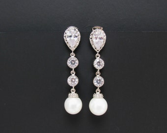 tall pearl bridal earrings , silver pearl earrings , round pearl bridal jewelry , wedding pearl earrings , cz pearl bridal earrings , bridal