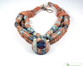 Africa N1 Polymer clay Necklace in terracotta, sky blue,  dark blue and ligth olive tones