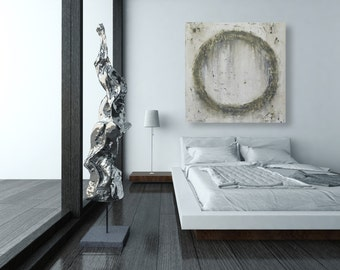 Large Modern Wall Art - Neutral Toned Textured Abstract Painting