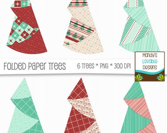 Christmas Digital Paper Folded Trees Clipart - Scrapbooking Cards Crafts - Christmas Brights Graphics - 6 High Res Images - 300 dpi - CU OK