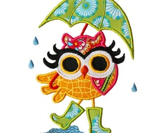 Owl with Umbrella and Rainboots. Machine Embroidery Applique Design. Instant Download. 4x4 and 5x7