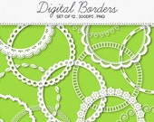 Digital Round Decorative Borders Frames / INSTANT DOWNLOAD / Clip Art Set of 12 / 119