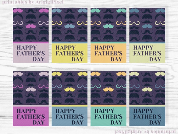 hang tags, Father's Day gift tag, printable, mustache, mustache patterned, set of 16 tags on 2 digital sheets, download