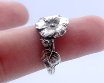 Spoon Ring, Sterling Silver Ring, Hollyhock ring, Reed & Barton Harlequin Floral Spoon Ring, Ring Silver, Different Sizes