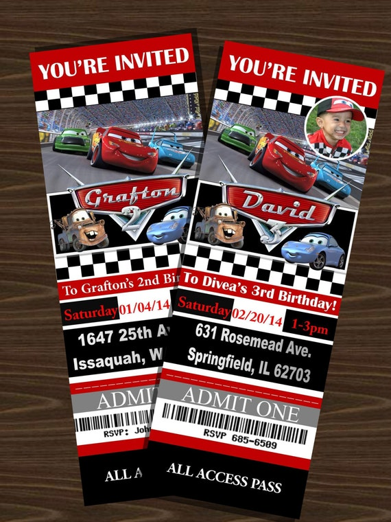 Disney S Cars Ticket Invitations With Or Without Photo