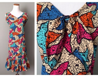 Vintage 1960s Flounce Dress Semi Fitted Ruffle with Bow Back Geo Bright Colorful Printed Design Soft Washed Cotton Hippy V-neck Large XL