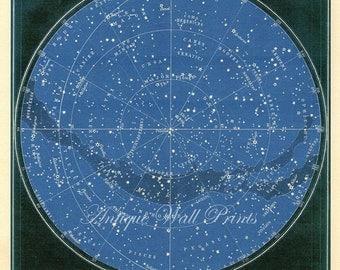 LARGE Blue Black Northern Constellations Star Chart Print