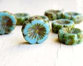 Celeste Blue Blooms - large aqua blue czech table cut flower beads with Picasso finish (6), czech glass beads, picasso finish beads