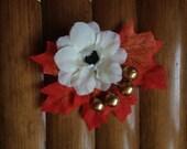 Halloween autumnal cream and orange cluster hair clip with gold berries by Rosie Alia Designs - Vintage inspired hair flower
