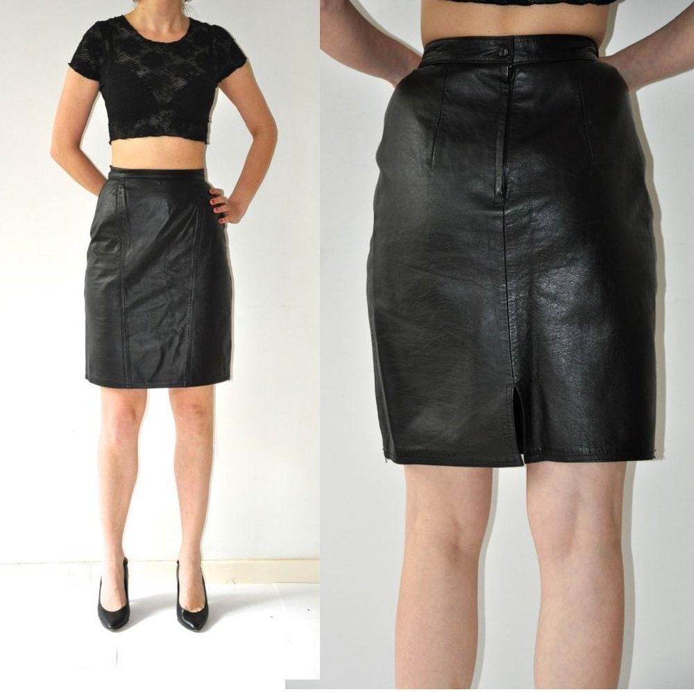 vintage black real leather mini skirt