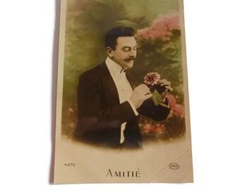 French Vintage Postcard . 1910's Card . Tinted Postcard . Gentleman Postcard .