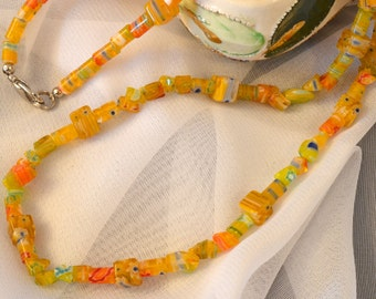 Yellow and Multi-colored Millefiori Glass Womens Necklace