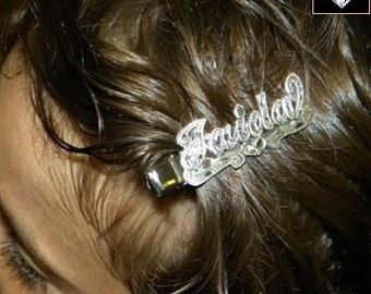Silver or GP Name Plate Hair Clip