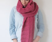 Hooded Scarf Crochet Cowl Hoodie - The Hidden - in Raspberry