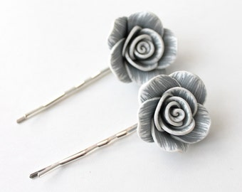 Grey Flower Bobby Pin Set