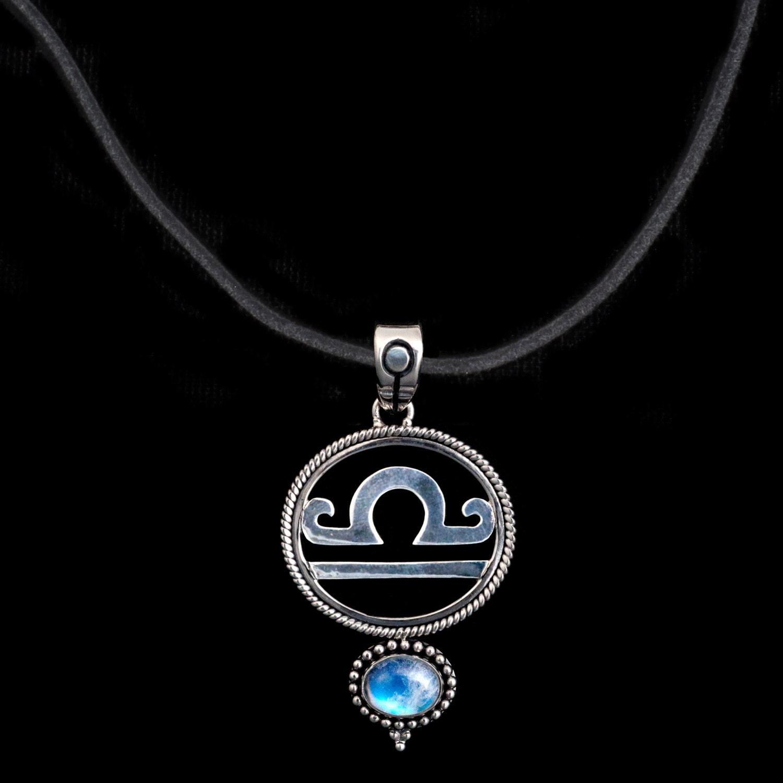 libra necklace sterling silver libra suede