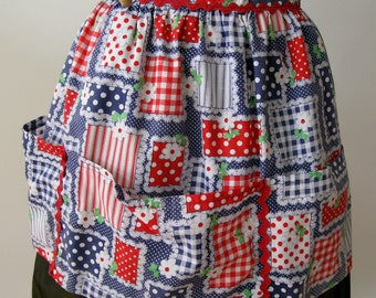 Vintage Apron hand made 1950s swiss dot with overlapping red,blue,white color blocks, full bottom pocket.