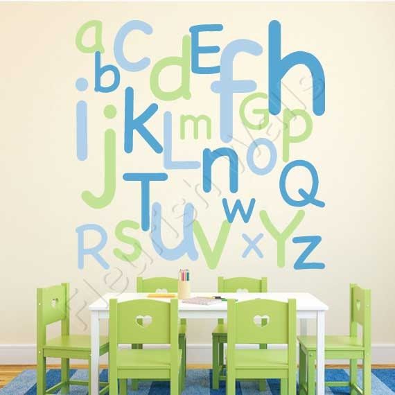 Items similar to alphabet wall decal large alphabet for Large wall letters for nursery