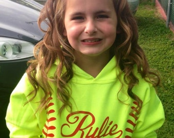 YOUTH Softball Hoodie Personalized with Monogrammed or Name with glitter or regular vinyl laces and monogram or name