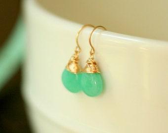 Gold Aqua Jade Drop Earrings