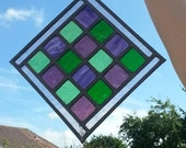 Stained glass panel - 'Checkers'