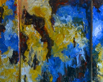 Abstract Triptych Fine Art Acrylic Painting on Canvas