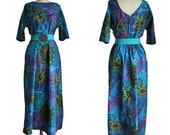 Vintage Teal Purple Green Floral Hawaiian Beach Dress by Paradise Hawaii size xl