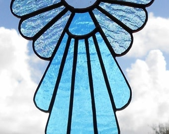 Stained Glass Angel Suncatcher, Blue #402