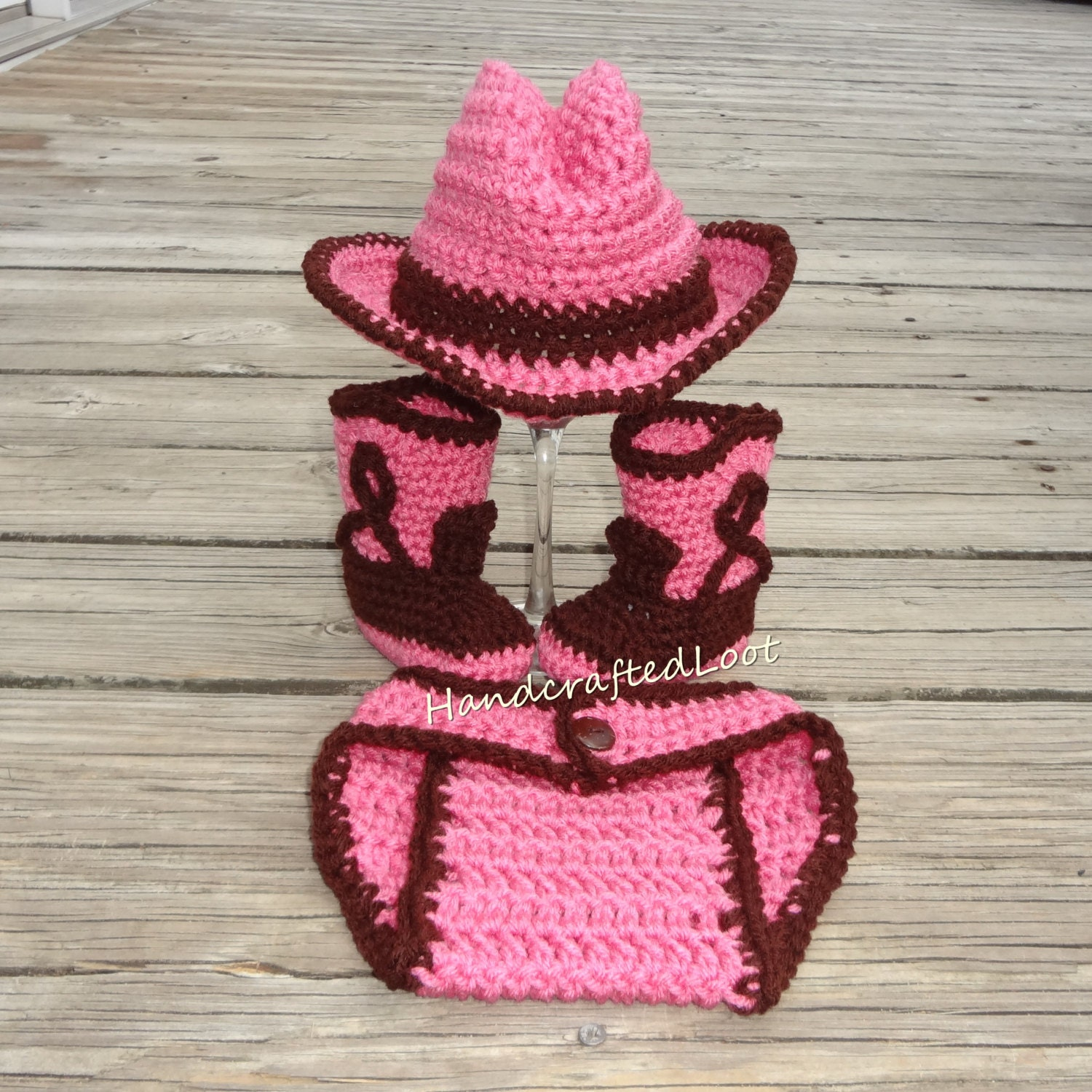 Newborn Baby Crochet Cowgirl Cowboy Hat Boots Photo Prop Set