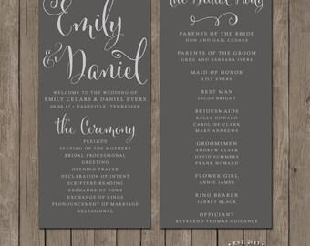 Printable Wedding Program - the Nicole Collection