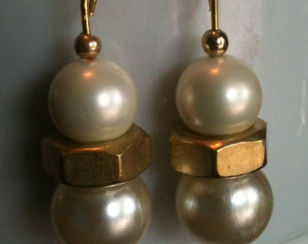 Lg. White Pearl Earrings with Brass Hex Nuts, on gold (#324)
