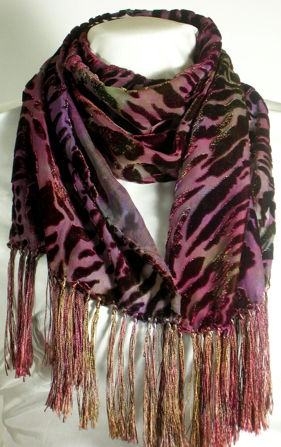 silk velvet burnout scarf animal print scarf by
