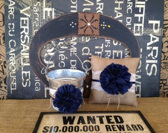 Wedding Basket Pillow Flower Girl Basket Ring Bearer Burlap Rustic Wedding Navy Blue