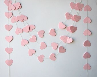 Paper garland, Wedding decorations, Pink heart garland, Heart garland, Pink garland, Wedding garland, Baby shower, Bridal shower, KCO-3042