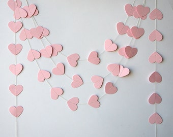 Paper garland, Wedding decorations, Pink heart garland, Heart garland, Pink garland, Wedding garland, Baby shower, Bridal shower, KCO-0042