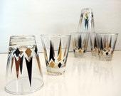 Vintage Golden Peaks Atomic Glasses Set of 8 Lowball Rocks Old Fashioned Diamond Arrow Gold Black Anchor Hocking Mad Men Mid Century
