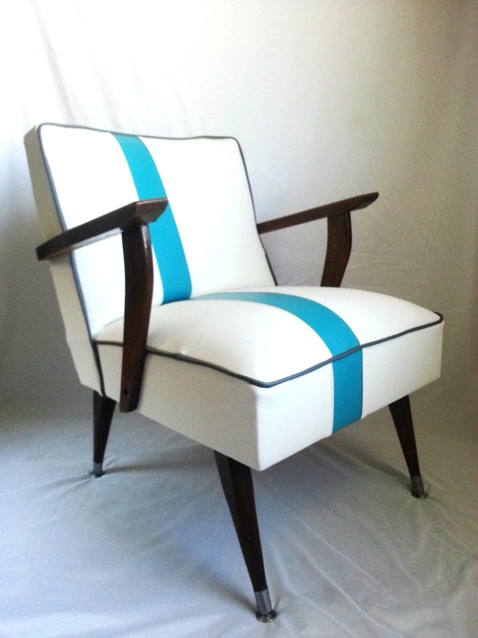 Mid Century Modern Chair White Vinyl With Blue Off Center