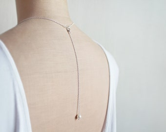 Back Drop Extension, Back Necklace, Pearl Bridal Jewelry, Detachable, Back Attachment, Backdrop Necklace