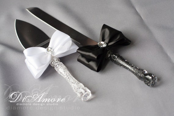 black wedding cake serving set black and white cake server personalized lace server and 11883