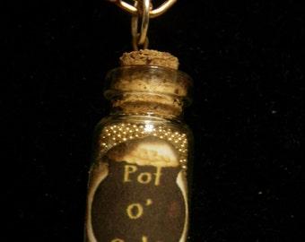 Pot O' Gold St. Patrick's Day Themed Bottle Charm Necklace