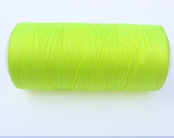 Neon Yellow Nylon Thread - Crochet Thread - Not Waxed - Macrame Cord -  Spool of 300 Yards