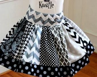 girls Halloween skirt chevron polka dot quatrefoil skirt chevron skirt silver, gray and black skirt  toddler girl Halloween