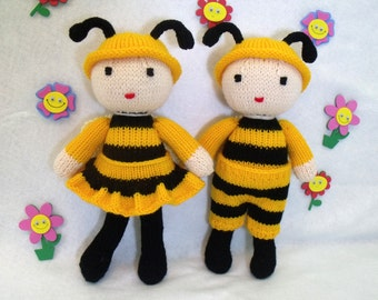 Toy doll knitting pattern. Cuties. Honey bee dolls. PDF instant download knitting pattern.
