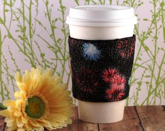 Fabric Coffee Cozy / Firework Sparkle Coffee Cozy / Firework Coffee Cozy / 4th of July Coffee Cozy / Coffee Cozy / Tea Cozy